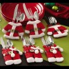 6 pcs Santa Claus Suit Cutlery Covers Christmas Dinner Tableware Decoration