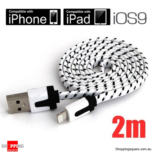 2m White Nylon Braided Lightning-Compatible USB Data Charging Cable for iPhone 5 6S plus iPod Touch Nano 7 iPad Air Mini
