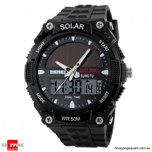 SKMEI Solar Power Dual Time Waterproof LED Analog Digital Watch Black Colour