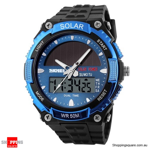 SKMEI Solar Power Dual Time Waterproof LED Analog Digital Watch Blue Colour