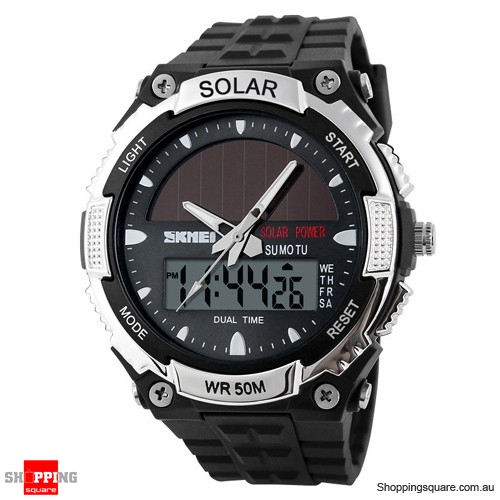 SKMEI Solar Power Dual Time Waterproof LED Analog Digital Watch Silver Colour