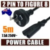 5M Mains Power Lead Cord Cable AU 2-Pin to Figure 8 Plug 250V 7.5A SAA