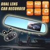 "HD 1080P Car Dual lens Rearview Mirror Dash Camera Recorder with 4.3"" Monitor &"