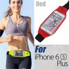 Rain Waterproof Outdoor Sports Running Fitness GYM Waist Bag with Adjustable Belt for iPhone 6 Plus/6S Plus Red Colour