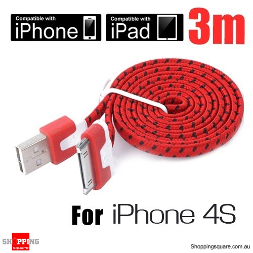 1m Nylon Braided USB Data Charger Cable for iPhone 4S 4 ipad ipod 2 3 3G Red Colour