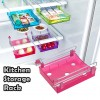 Portable Freezer Refrigerator Drawer Organisers Rack for Kitchen Food Transparent Red Colour