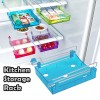 Portable Freezer Refrigerator Drawer Organisers Rack for Kitchen Food Transparent Blue Colour