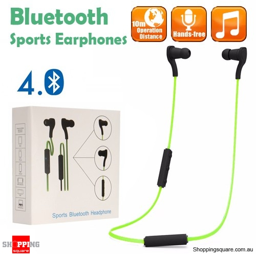 Bluetooth 4.0 Wireless Sports Earphones for iPhone Android Green Colour