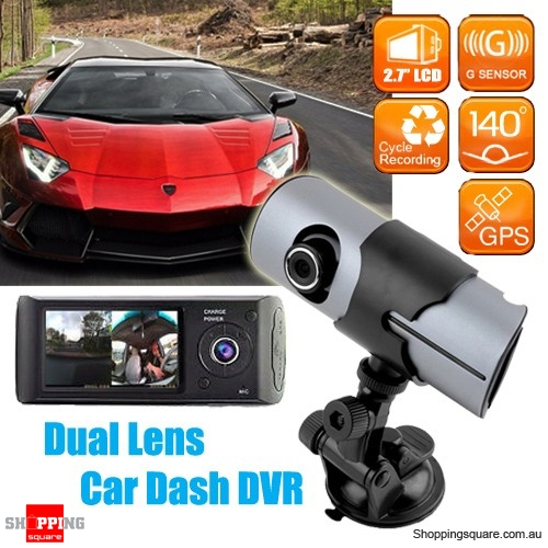 2.7 Inch HD Dual Lens Car DVR Dash Cam Video Recorder with G-sensor GPS
