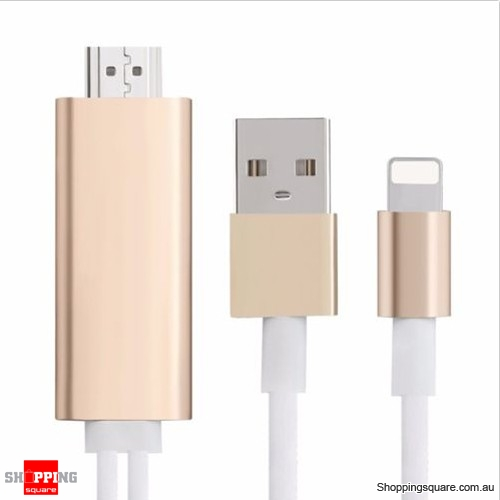 pretty nice 502c4 240ce 2M 8 Pin Dock to HDMI HDTV AV Cable Adapter for Apple iPhone 6 6S Plus 5S  Gold Colour - Shoppingsquare Australia