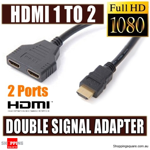 HDMI 1 to 2 Split Adapter Converter Cable with Double Signal for Video TV HDTV XBox One BN Black Colour