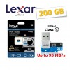 Lexar 633x 200GB High Performance microSD UHS-I Class 10 TF Memory Card 95MB/s with Card Reader