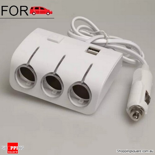 DC 12V Dual USB 3 Way Splitter Car Cigarette Lighter Socket Adapter Charger White Colour