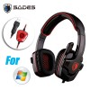 Sades SA901 Surround Pro Stereo 7.1 USB Gaming Headset with Mic for PC Laptop Red Colour