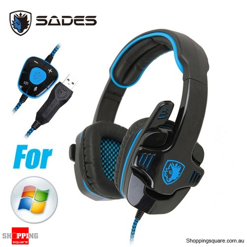 Sades SA901 Surround Pro Stereo 7.1 USB Gaming Headset with Mic for PC Laptop Blue Colour