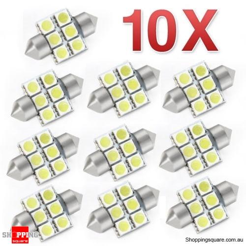 10pcs 12V LED 5050 6SMD 31mm Festoon Car Interior Auto Light Bulb White Dome Globe