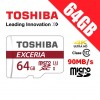 Toshiba Exceria 64GB microSD microSDXC Memory Card with Adapter 90MB/s