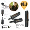 10 in 1 Survival Tool with Emergency Compass Flint & Fire Starter for Camping Hiking Black Colour