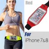 Rain Waterproof Outdoor Sports Running Fitness GYM Waist Bag with Adjustable Belt for iPhone 7 Red Colour
