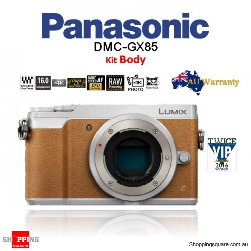 Panasonic Lumix DMC-GX85 16MP Wi-Fi 4K Mirrorless DSLR Camera Body Brown