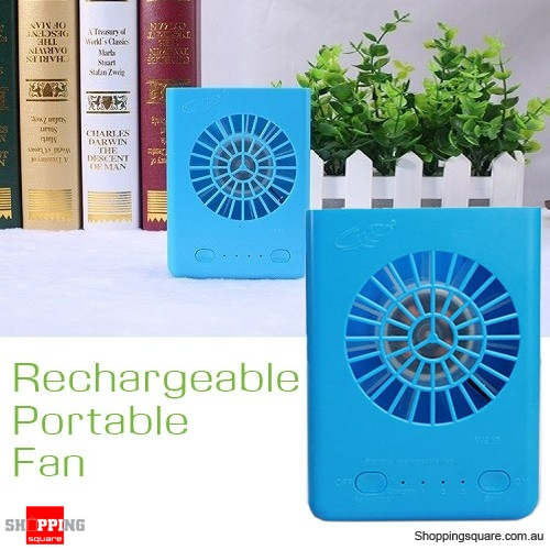 Multifunctional USB Battery Charger Portable Fan W910 Blue Colour