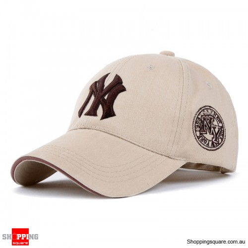 Mens Womens NY Logo Snapback Baseball B-boy Hip-Hop Adjustable Cap Hat Khaki Colour