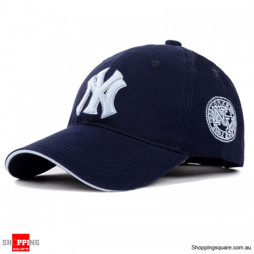 Mens Womens NY Logo Snapback Baseball B-boy Hip-Hop Adjustable Cap Hat Dark Blue Colour