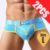 Pack of 2PCS Men's Comfy Sexy soft Boxer Briefs Shorts Bulge Pouch Underpants Underwear Blue Colour Size L