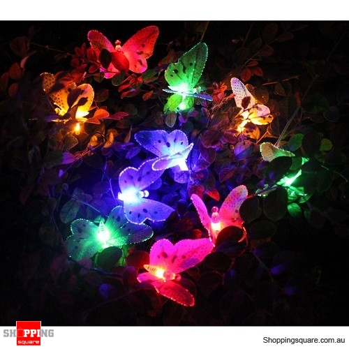 10 LED Solar Powered Butterfly Fiber Optic Fairy String Lights for Xmas Wedding Party Decor