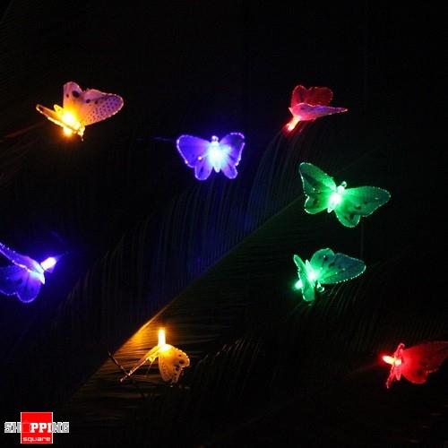 10 Led Solar Powered Butterfly Fiber Optic Fairy String