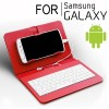 Universal Wired Keyboard Flip Holster Case for Android Samsung Phone 4.2 to 6.8 inch Red Colour