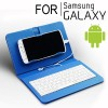Universal  Wired Keyboard Flip Holster Case for Android Samsung Phone 4.2 to 6.8 inch Blue Colour