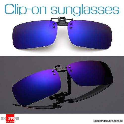 Mens Womens Polarized Flap Up Clip-on Mirror Sunglasses with UV 400 Protection Blue Colour