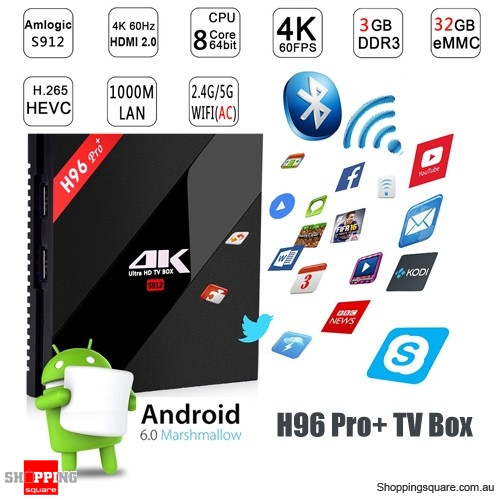 H96 PRO PLUS Amlogic S912 Octa Core 3GB RAM 32GB ROM Android 6.0 TV Box Supported 4K