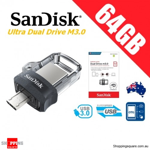 SanDisk Ultra Dual Drive M3.0 64GB SDDD3 USB 3.0 OTG Flash Drive Memory 150MB/s Smartphone Tablet PC (OEM PACK)