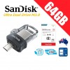 SanDisk Ultra Dual Drive M3.0 64GB SDDD3 USB 3.0 OTG Flash Drive Memory 150MB/s Smartphone Tablet PC