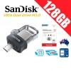 SanDisk Ultra Dual Drive M3.0 128GB SDDD3 USB 3.0 OTG Flash Drive Memory 150MB/s Smartphone Tablet PC