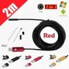 2M 6LED USB Waterproof Endoscope Borescope with HD Camera for Inspection Android PC Red Colour