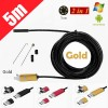 5M 6LED USB Waterproof Endoscope Borescope with HD Camera for Inspection Android PC Gold Colour