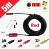 5M 6LED USB Waterproof Endoscope Borescope with HD Camera for Inspection Android PC Red Colour