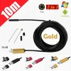 10M 6LED USB Waterproof Endoscope Borescope with HD Camera for Inspection Android PC Gold Colour
