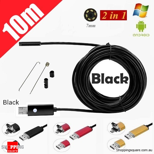 10M 6LED USB Waterproof Endoscope Borescope with HD Camera for Inspection Android PC Black Colour