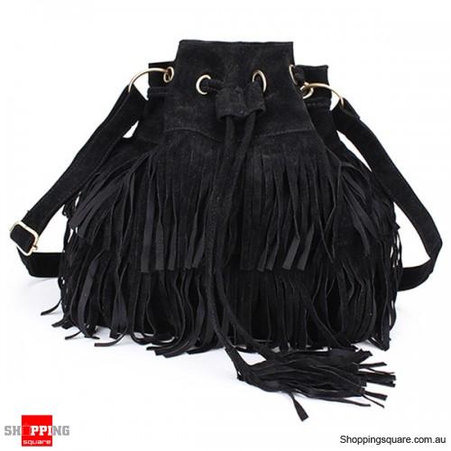 ... Womens Ladies Stylish Tassel Drawstring Chain Bucket Shoulder Bag  Handbag - Black Colour brand new cc2cd ... 05a6b93fdc4bb