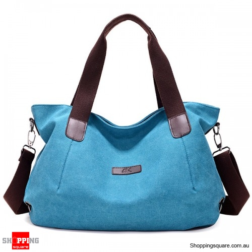 Durable Canvas Big Capacity Shoulder Bags Simple Crossbody Bags - Blue Colour