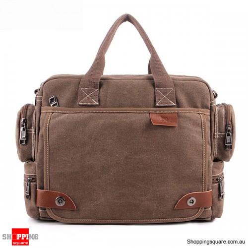 Men's Casual Retro Canvas Multifunctional 14 inch Laptop Crossbody Handbag Bag Coffee Colour