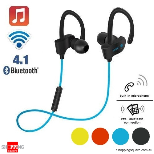Wireless Bluetooth V4.1 SPORT Stereo Headset for iPhone Samsung LG Blue Colour