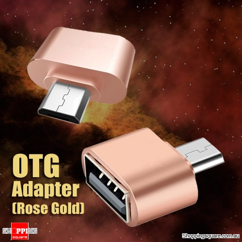 USB Female to Micro USB Male OTG Cable Adapter for Samsung Android Phone Tablet Rose Gold Colour