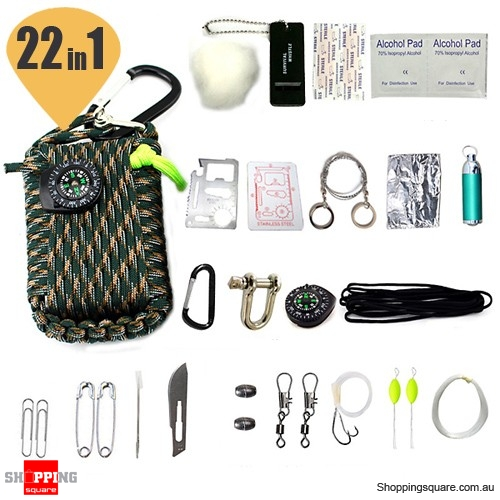 22 In1 Multifunctional Survival Emergency First Aid Kit Tools for Outdoor Fishing Parachute Cord