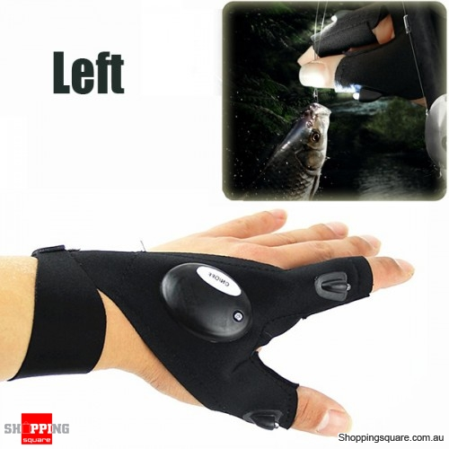 Multifunctional EDC Fishing Fingerless Glove with LED Flashlight for  Survival Outdoor Rescue Repair- Left Hand