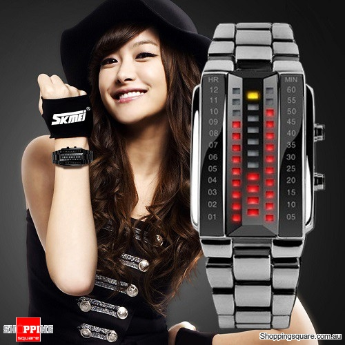 Women's Waterproof Digital Stainless Steel Band Watch Silver Colour